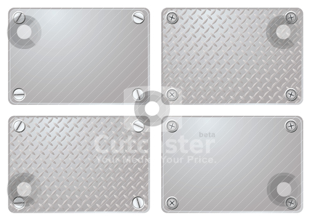 Metal plate stock vector clipart, Four variations of a metal plate with different screws by Michael Travers