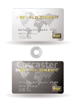 World credit stock vector clipart, Two credit cards with drop shadow by Michael Travers