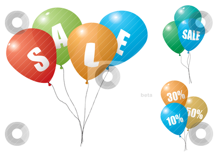 Balloon sale stock vector clipart, Collection of colorful balloons with discount sale text by Michael Travers
