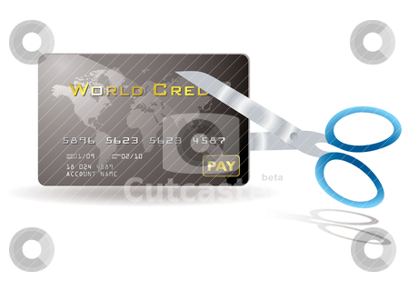 Credit card cut stock vector clipart, Pair of scissors cutting a credit card in half by Michael Travers