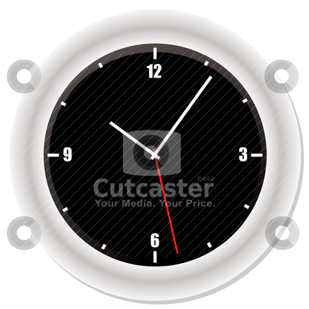Modern bevel clock stock vector clipart, Modern clock with drop shadow and black face by Michael Travers