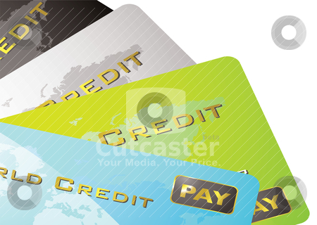 Credit card fan stock vector clipart, Four credit cards spread out by Michael Travers