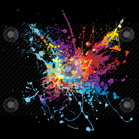 Ink splatter rainbow black background stock vector clipart, Rainbow colour bright ink splat design on a black background by Michael Travers