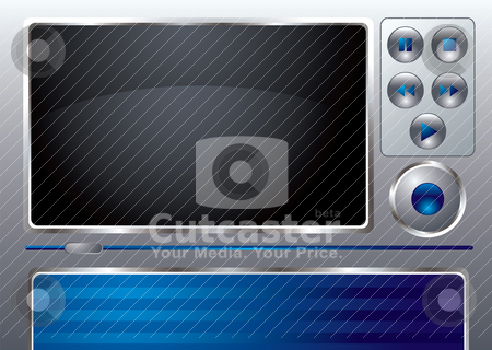 Music interface stock vector clipart, Blue and gray musical interface with room for your own text by Michael Travers