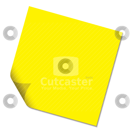 Post it yellow drop shadow stock vector clipart, Sticky paper message not with page curl in yellow by Michael Travers