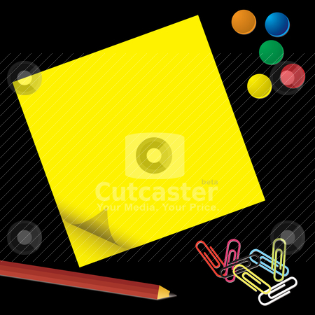 Business extras stock vector clipart, Business equipment with pad and pencil on black background by Michael Travers