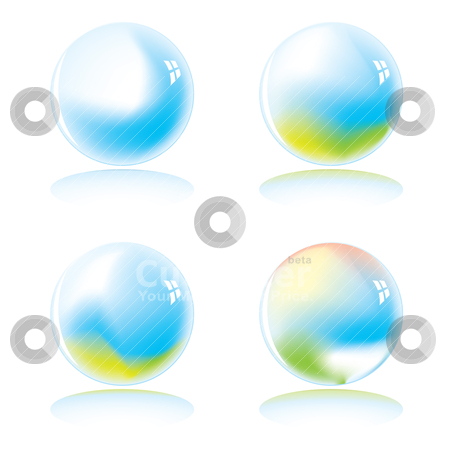 Marble world variation stock vector clipart, Four marbles with a colour variation with drop shadow by Michael Travers