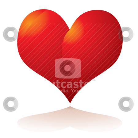 Heart shadow stock vector clipart, Illustrated Love heart in red with a drop shadow by Michael Travers
