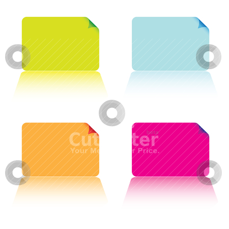 Business card collection stock vector clipart, Collection of four business cards in different colours by Michael Travers