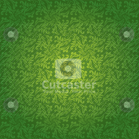 Green floral tile stock vector clipart, Green and yellow floral seamless background with a repeat design by Michael Travers