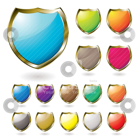 Shield drop shadow stock vector clipart, Collection of illustrated shields with a drop shadow by Michael Travers
