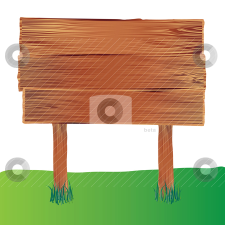 Wood sign stock vector clipart, Illustrated wooden sign with a blank space for your information by Michael Travers