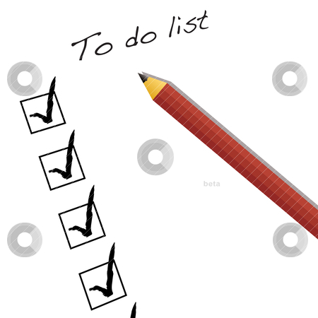 To do list stock vector clipart, To do list with ticks and pencil and drop shadow by Michael Travers