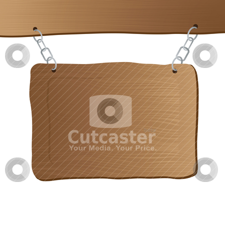 Hanging sign post stock vector clipart, Wooden sign hanging from a wooden beam with a chain by Michael Travers