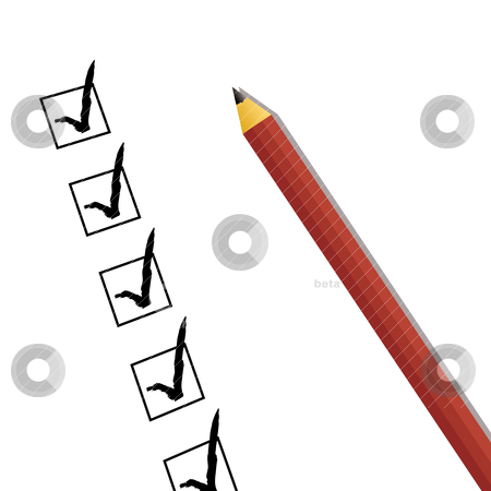 Checklist stock vector clipart, Tick boxes in black with pencil and drop shadow by Michael Travers