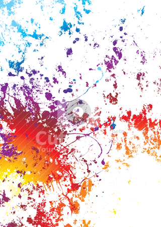 Grunge rainbow weathered stock vector clipart, White background with rainbow grunge effect with paint splat by Michael Travers