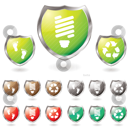 Shield eco stock vector clipart, Collection of eco shields with a drop shadow and icons by Michael Travers