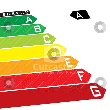 Energy rating stock vector clipart, Energy rating system with multi coloured arrows at an angle by Michael Travers