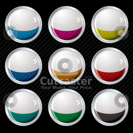 White top button silver stock vector clipart, Nine colourful buttons with white tops and silver bevel by Michael Travers
