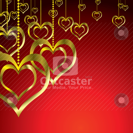 Gold love heart hang stock vector clipart, Love heart pair hanging on a golden chain by Michael Travers