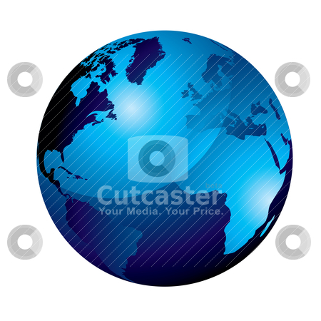 Gel globe blue stock vector clipart, Blue gel marble world icon with a shadow effect by Michael Travers