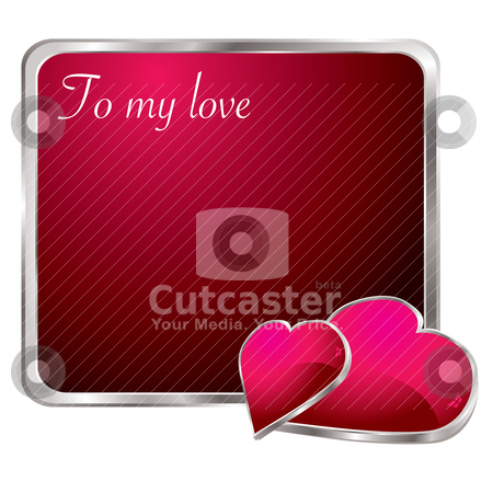 To my love stock vector clipart, Silver bevel red love note with two hearts and shadows by Michael Travers