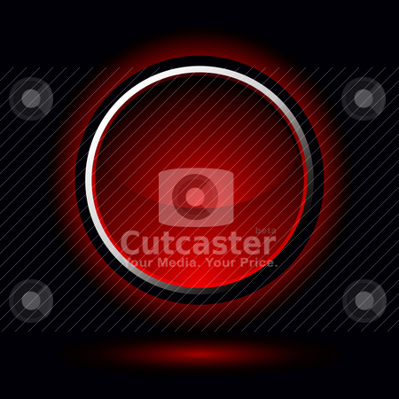 Bright red button stock vector clipart, Red button with drop shadow with a black background by Michael Travers