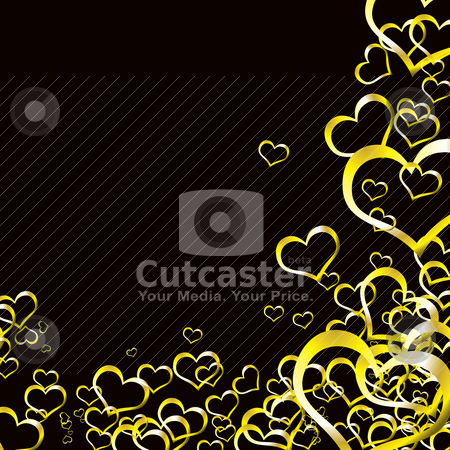 Love heart gold background stock vector clipart, Black and gold love heart background ideal for valentines day by Michael Travers
