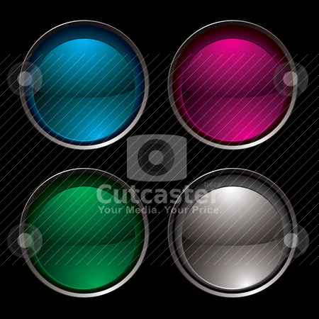Button insert stock vector clipart, Collection of four buttons with a silver bevel inset by Michael Travers
