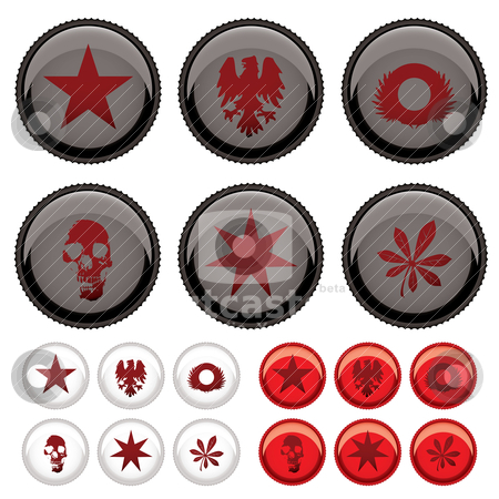 Bottle top stock vector clipart, Collection of six bottle tops with three colour variations by Michael Travers