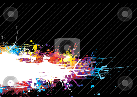 Rainbow drag band stock vector clipart, Black background with a colorful rainbow ink splat effect by Michael Travers