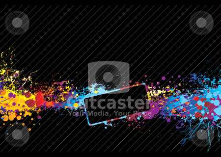 Rainbow banner dream stock vector clipart, Black background with rainbow ink splat and room to add copy by Michael Travers