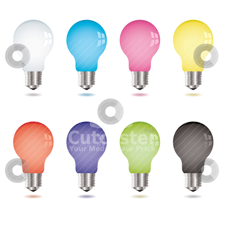 Light bulb variation stock vector clipart, Collection of eight brightly coloured light bulbs with shadow by Michael Travers