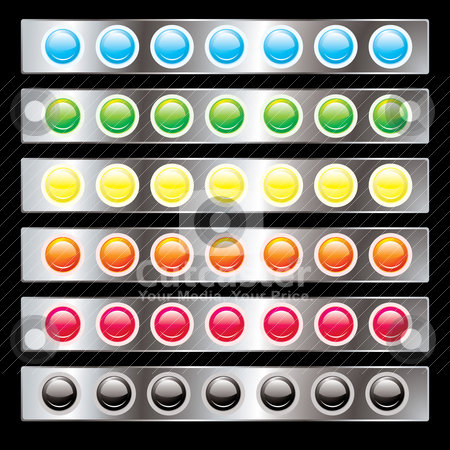 Light interface stock vector clipart, Round button interface with colorful variations on a silver background by Michael Travers