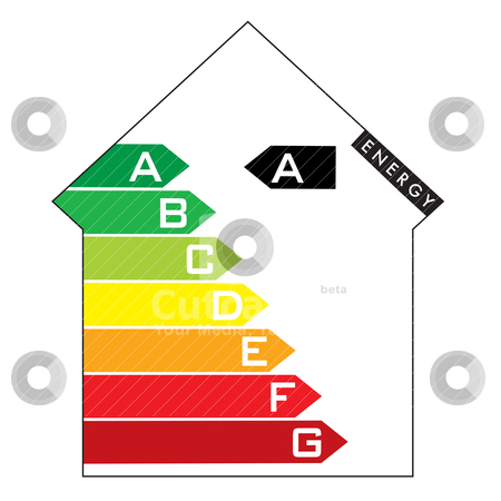 Energy house stock vector clipart, Single illustrated energy house rating with colourful arrows by Michael Travers