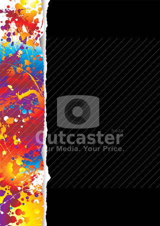 Rainbow tear white stock vector clipart, Black background with tear effect and rainbow effect in border by Michael Travers