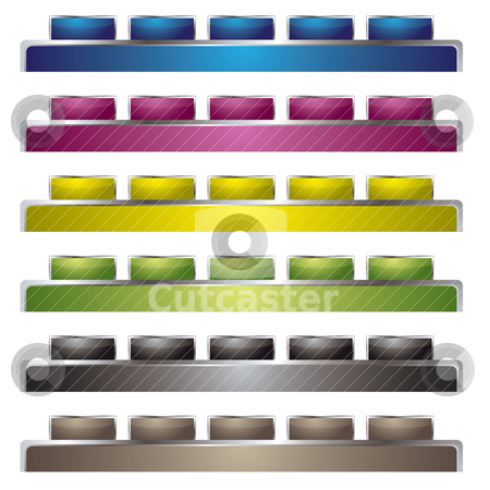 Top interface stock vector clipart, Collection of six web interface with silver bevel by Michael Travers