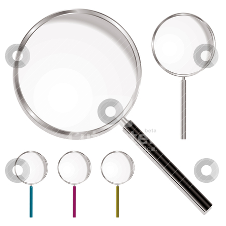 Magnifying glass stock vector clipart, Magnifying glass with plastic handle and metal rim with colour variations by Michael Travers