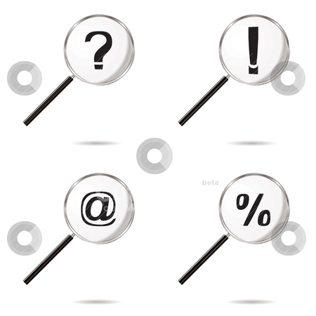 Magnify icons stock vector clipart, Collection of four magnifying symbols with question mark icons by Michael Travers