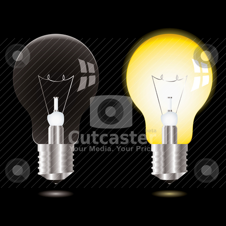 Light bulb on off stock vector clipart, Two illustrations of a light bulb one off the other on and bright by Michael Travers