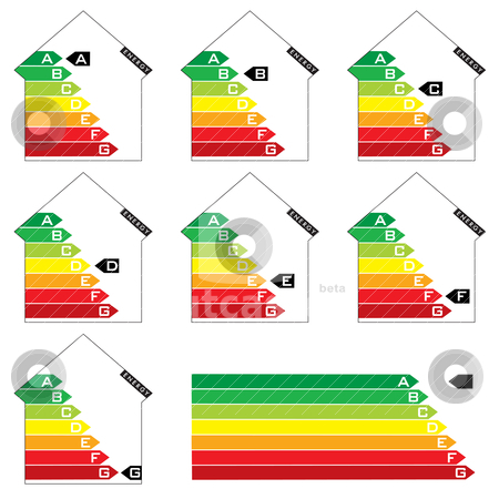 Energy house rating stock vector clipart, Collection of seven house energy rating graphs with arrows by Michael Travers