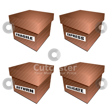 Cardborad box notice stock vector clipart, Collection of four cardboard boxes with fragile label by Michael Travers