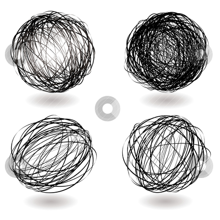 Scribble nest variation stock vector clipart, Black scribble balls with drop shadow illustrated icons by Michael Travers