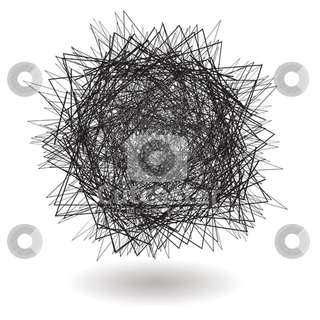 Square scribble stock vector clipart, Angry scribble with sharp lines with drop shadow by Michael Travers