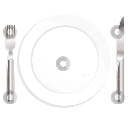 Place set stock vector clipart, Illustrated knife and fork with ceramic plate and shadow by Michael Travers