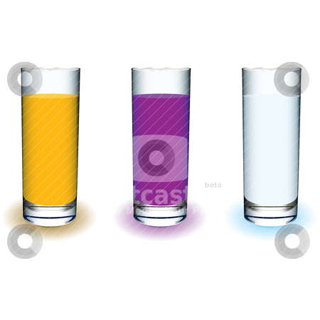 Fruit drink stock vector clipart, Three tall glass drinks filled with fresh fruit juice by Michael Travers