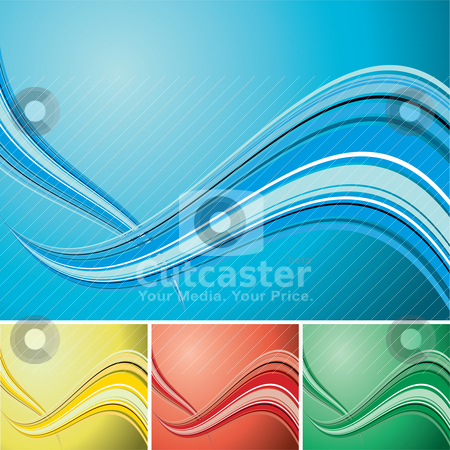 Quad wave background stock vector clipart, Light colored wave designed background with copy space by Michael Travers