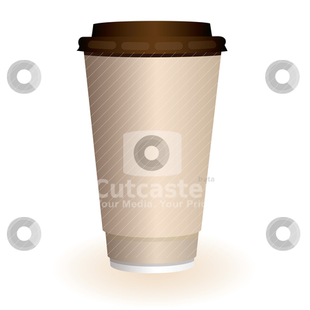 Large coffee cup stock vector clipart, Large brown hot coffee or tea disposable paper cup by Michael Travers