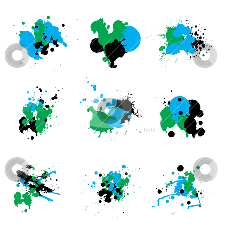 Trio paint splat stock vector clipart, Ink paint splat in three abstract illustrated colours by Michael Travers