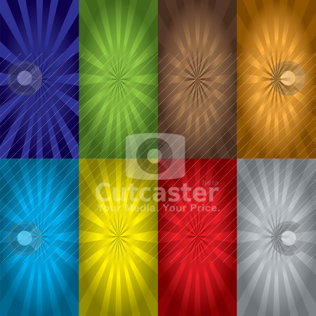 Radiate variation stock vector clipart, Colourful bright background with exploding abstract design by Michael Travers